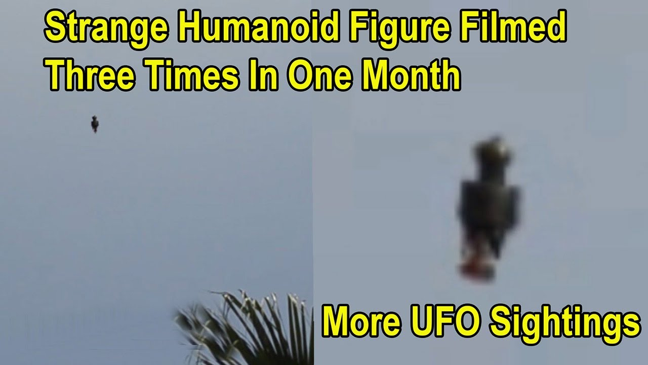 Strange Formation of LIghts In Night Sky – 3 Flying Humanoid Figure Filmed In One Month