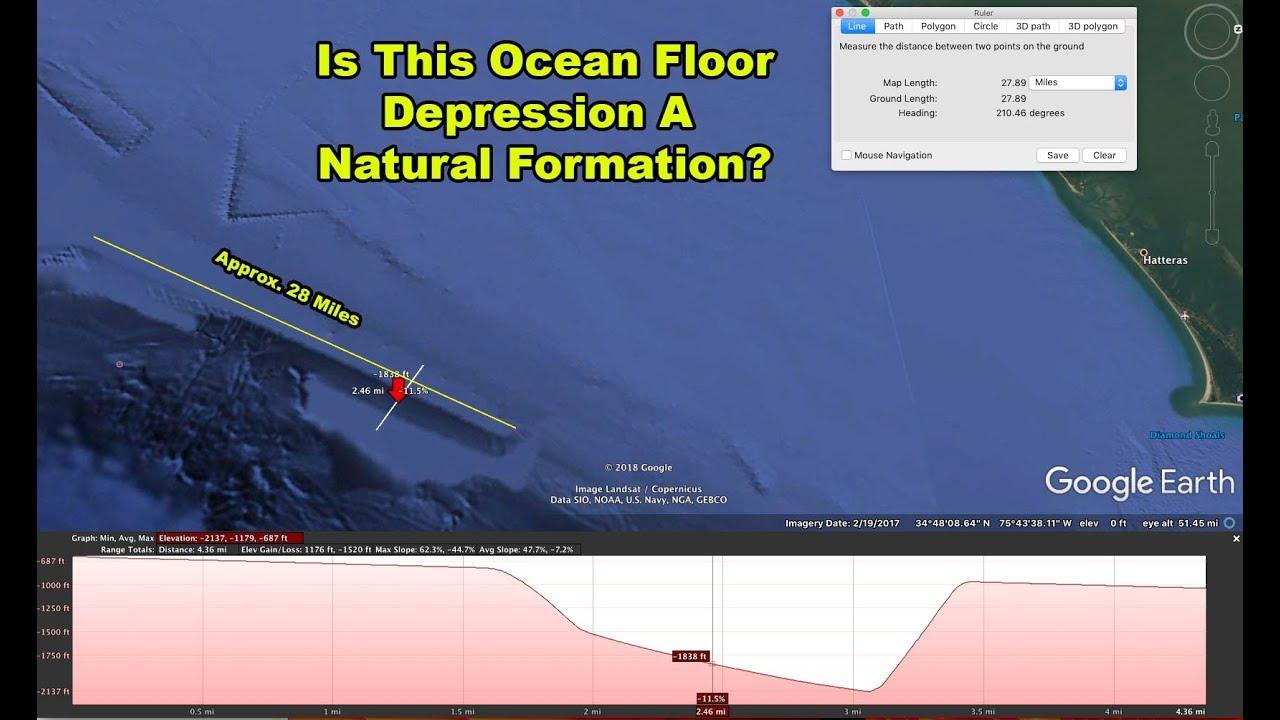 Unusual Features On Ocean Floor Off Coast Of Hatteras, North Carolina